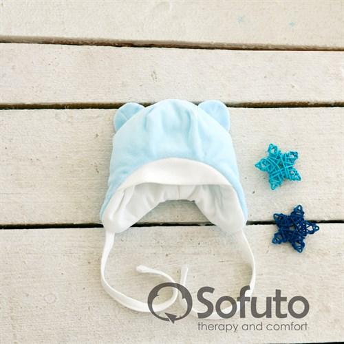 Шапочка велюровая утепленная на завязках Sofuto baby Blue simple - фото 10001