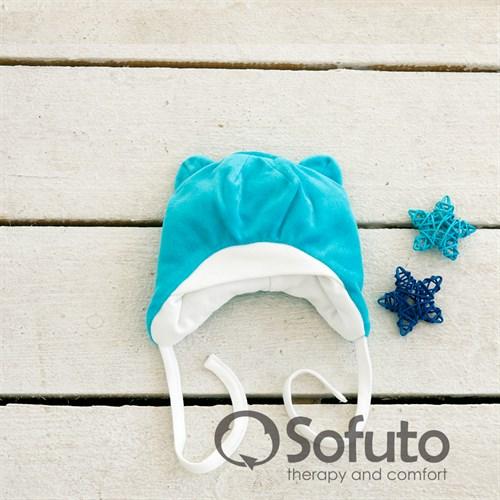 Шапочка велюровая утепленная на завязках Sofuto baby Vincent бирюзовая - фото 10003
