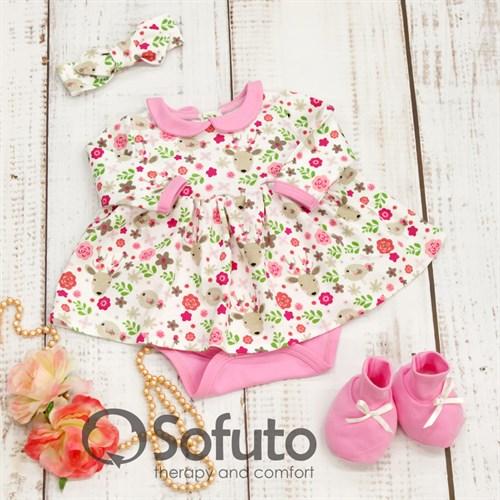 Комплект из боди-платья  с аксессуарами Sofuto baby Flowers - фото 10019