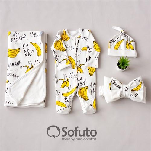 Комплект на выписку летний (4 предмета) Sofuto baby Bananas - фото 10448
