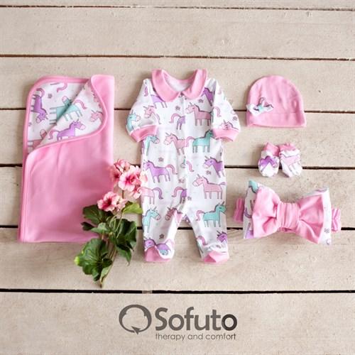Комплект на выписку летний (5 предметов) Sofuto baby unicorn - фото 10459