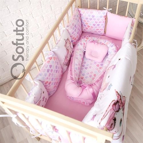 Комплект бортиков + стеганое одеяло Sofuto Babyroom Unicorn - фото 10582