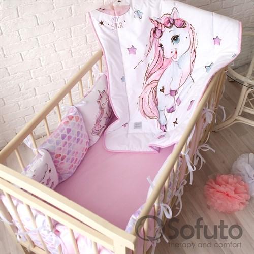 Комплект бортиков + стеганое одеяло Sofuto Babyroom Unicorn - фото 10583