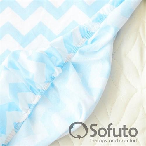 Простынь на резинке Sofuto Babyroom Stars and waves aqua - фото 10630