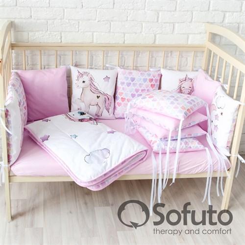 Комплект бортиков + стеганое одеяло Sofuto Babyroom Unicorn - фото 10763