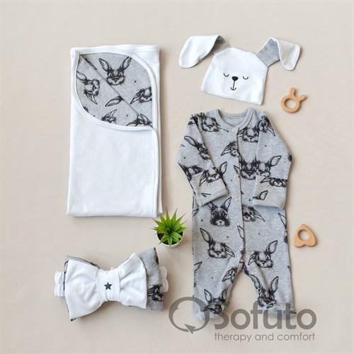 Комплект на выписку летний (4 предмета) Sofuto baby Rabbit - фото 10861