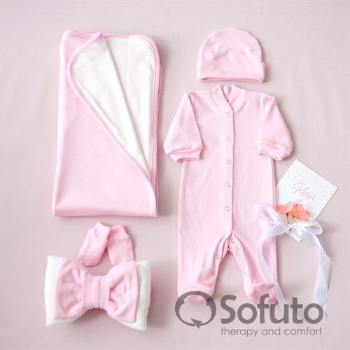 Комплект на выписку летний (5 предметов) Sofuto baby Rose simple - фото 10919