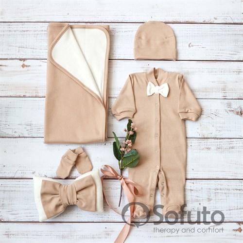 Комплект на выписку летний (5 предметов) Sofuto baby Latte boy - фото 10921