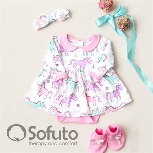 Комплект из боди-платья  с аксессуарами Sofuto baby Unicorn - фото 10945