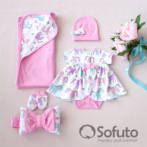 Комплект на выписку жаркое лето (5 предметов) Sofuto baby Unicorn - фото 10975