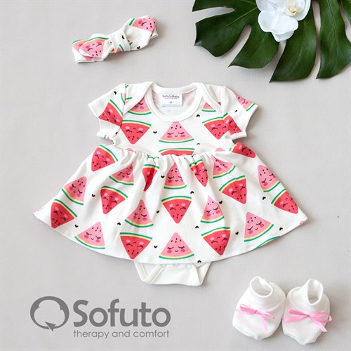 Комплект из боди-платья  с аксессуарами Sofuto baby Watermelon - фото 10989