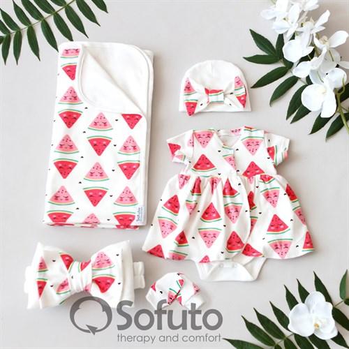 Комплект на выписку жаркое лето (5 предметов) Sofuto baby Watermelon - фото 11162