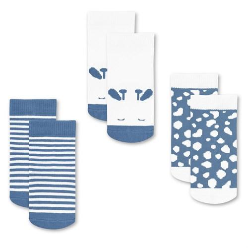 "Носочки 3 пары ""Жирафенок Уго"" трикотаж голубой - фото 11370"