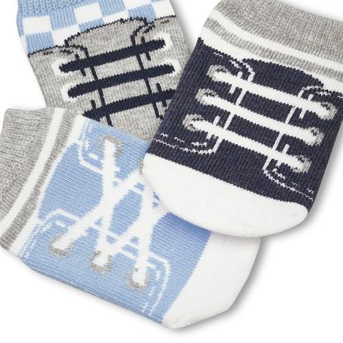 "Носочки 3 пары ""Кеды"" трикотаж синий - фото 11438"