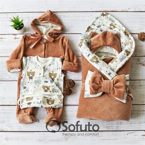 Комплект на выписку демисезонный (6 предметов) швами наружу Sofuto baby Teddy - фото 11700