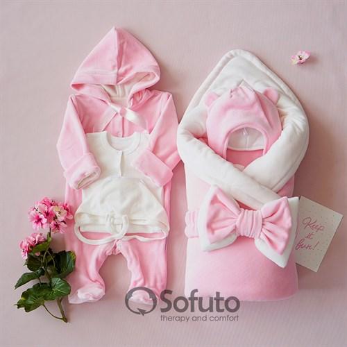 Комплект на выписку демисезонный (6 предметов) Sofuto baby Rose simple
