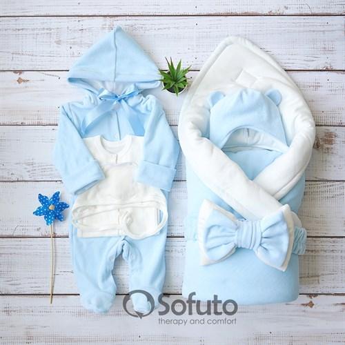Комплект на выписку демисезонный (6 предметов) Sofuto baby Blue simple