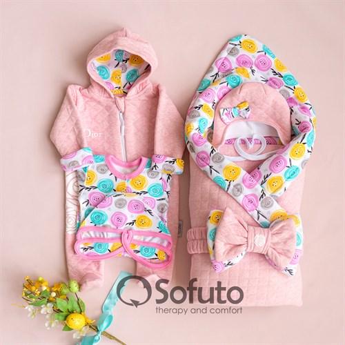 Комплект на выписку холодное лето plus (6 предметов) Sofuto Rosa dior - фото 12132