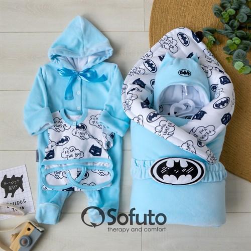 Комплект на выписку зимний (6 предметов) Sofuto baby Batman - фото 12247