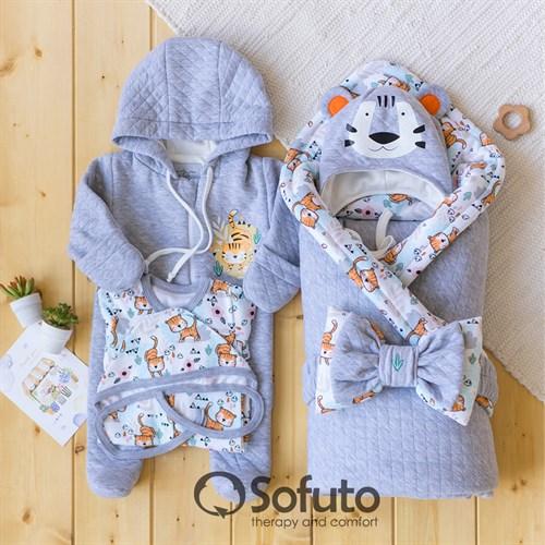 Комплект на выписку демисезонный (6 предметов) Sofuto baby Tiger - фото 14438