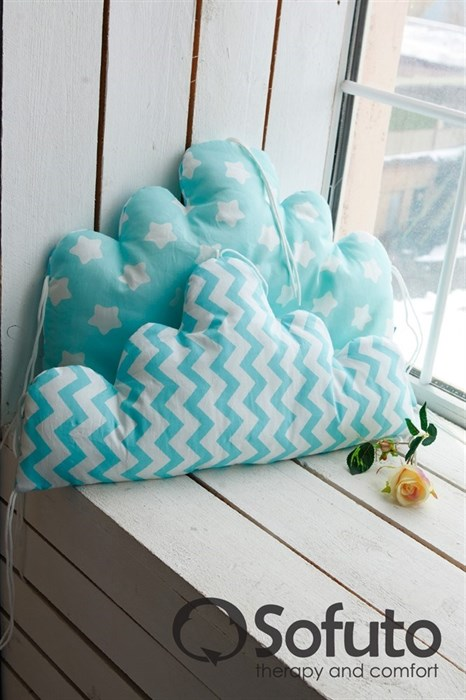 Бортик Sofuto Babyroom Cloud small Aqua - фото 5104