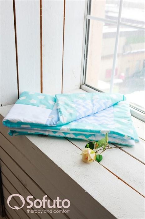 Одеяло стеганное Sofuto Babyroom Aqua + Blue sky patchwork - фото 5169