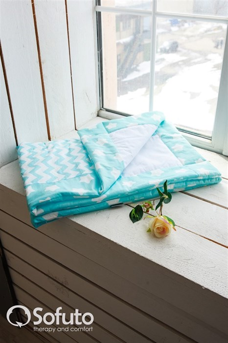 Одеяло стеганное Sofuto Babyroom Aqua patchwork - фото 5174