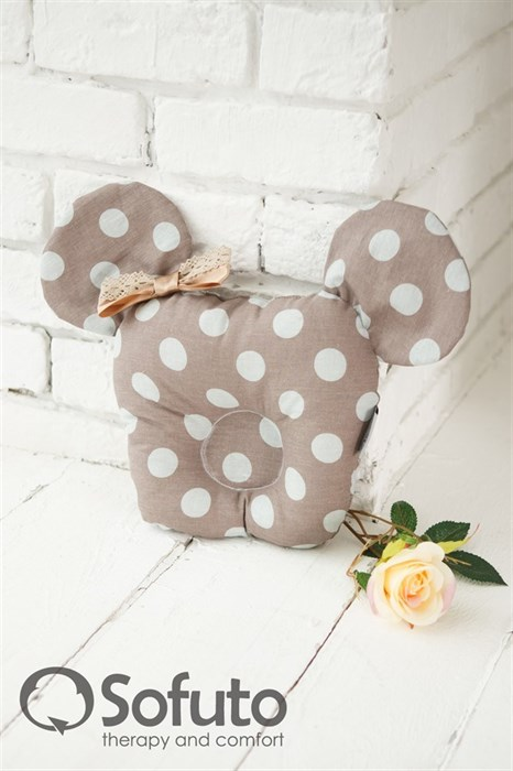 Подушка для новорожденного Sofuto Baby pillow Mouse Polka dot chocco - фото 5304