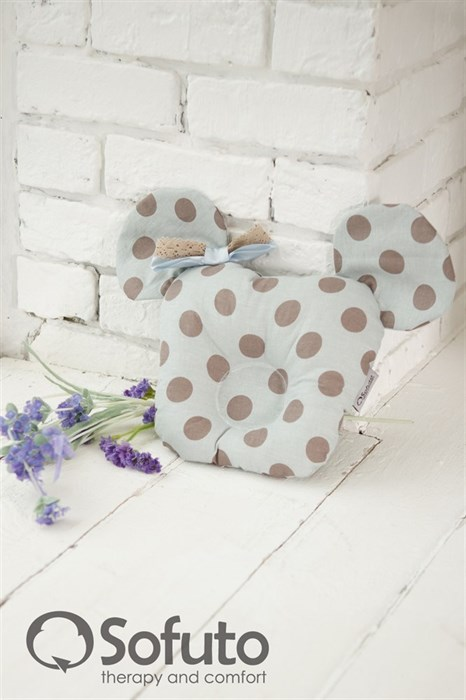 Подушка для новорожденного Sofuto Baby pillow Mouse Polka dot gray - фото 5306