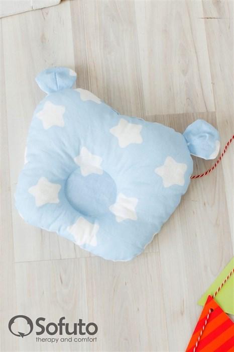 Подушка для новорожденного Sofuto Baby pillow Teddy Stars and waves blue sky - фото 5332