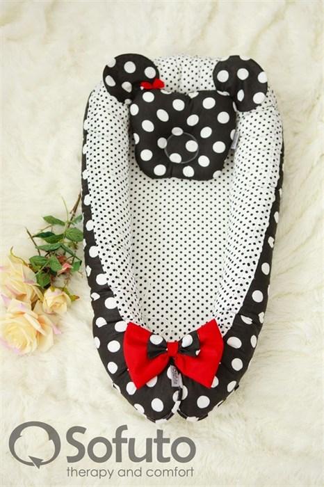 Кокон-гнездышко Sofuto Babynest Minnie black dots - фото 5384