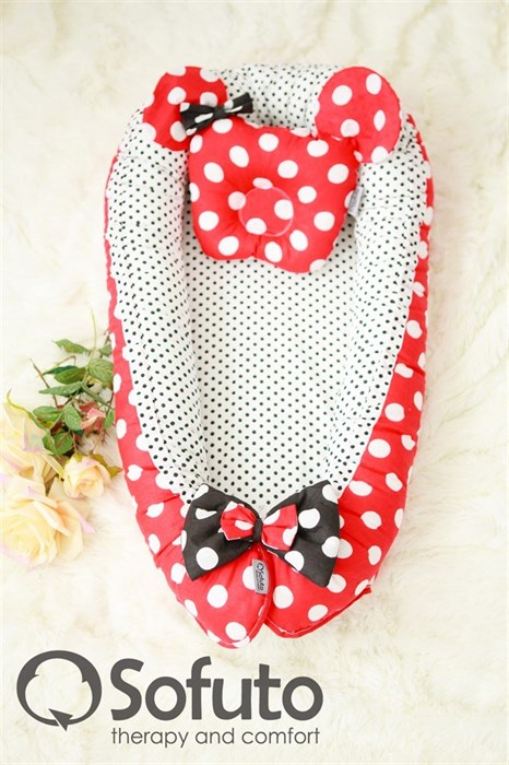 Кокон-гнездышко Sofuto Babynest Minnie red dots - фото 5406