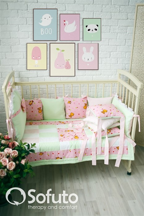 Комплект бортиков Sofuto Babyroom Likes pink - фото 5769