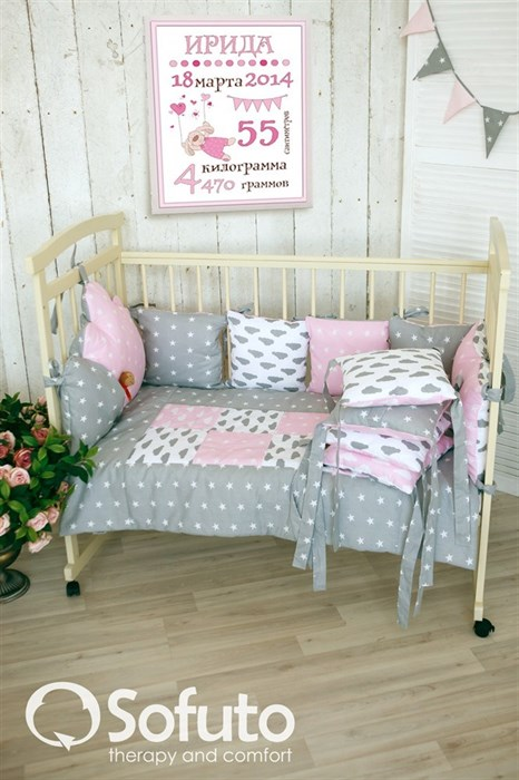 Комплект бортиков Sofuto Babyroom Rose ashes - фото 5913