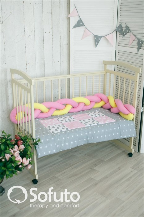 Бортик коса Sofuto Babyroom yellow and pink - фото 5964