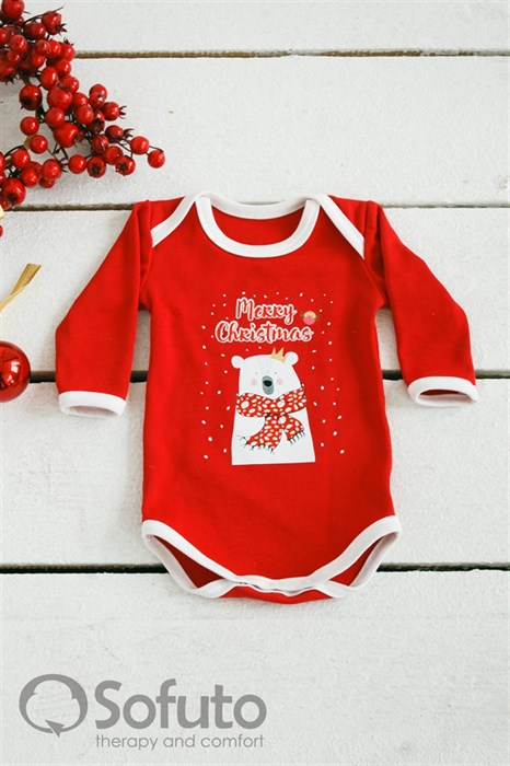 Боди детское Sofuto baby New year red with white - фото 6376
