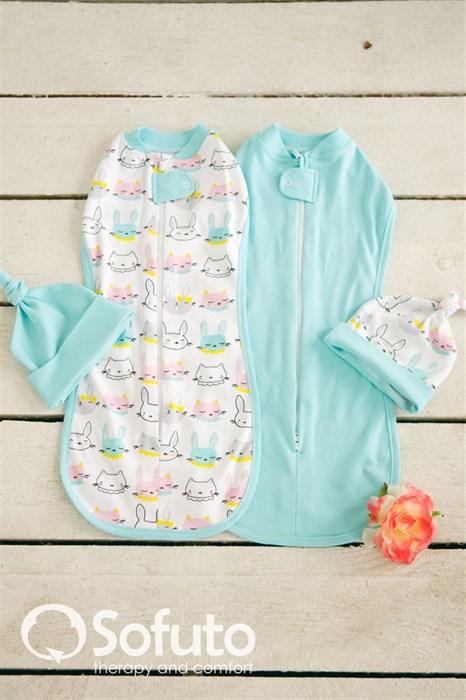 Комплект пеленок Sofuto Swaddler Bunny blue - фото 6396
