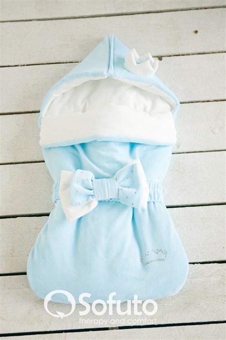 Конверт велюровый для новорожденного Sofuto Blue - фото 6512