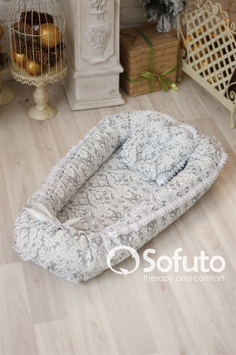 Кокон-гнездышко Sofuto Babynest Barocco silver - фото 6545