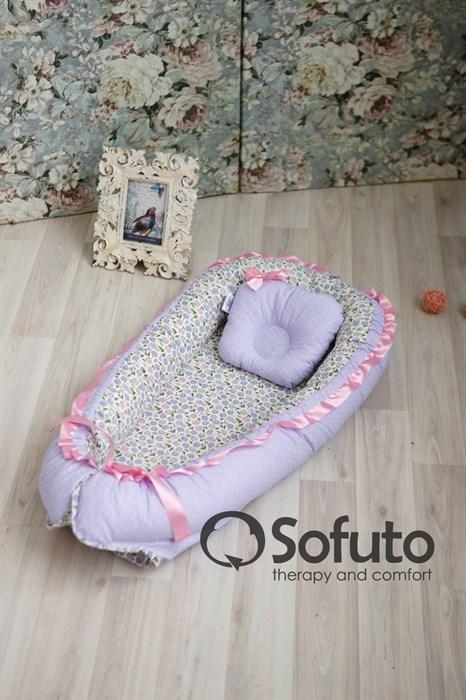 Кокон-гнездышко Sofuto Babynest Fialki - фото 6551