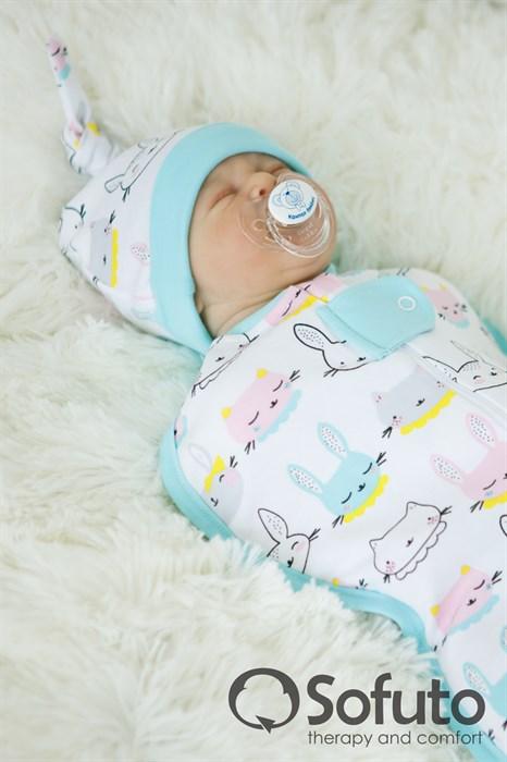 Шапочка узелок Sofuto Baby Bunny blue - фото 6649