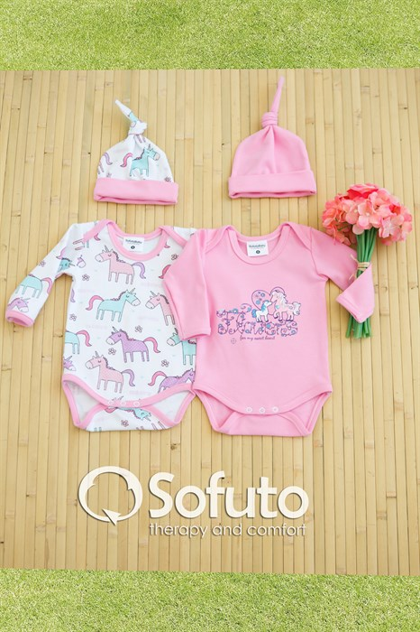 Комплект боди (4 предмета)  Sofuto baby unicorn - фото 6852
