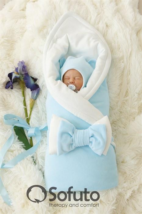 Комплект на выписку холодное лето (6 предметов) Sofuto baby Blue simple - фото 7495