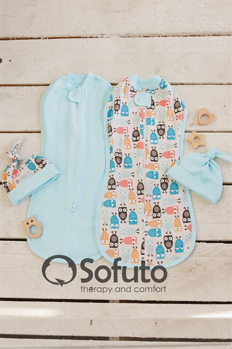 Комплект пеленок Sofuto Swaddler Owl laguna - фото 8226