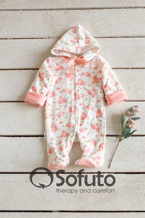 Комбинезон велюровый на кнопках Sofuto baby Tea rose - фото 8533