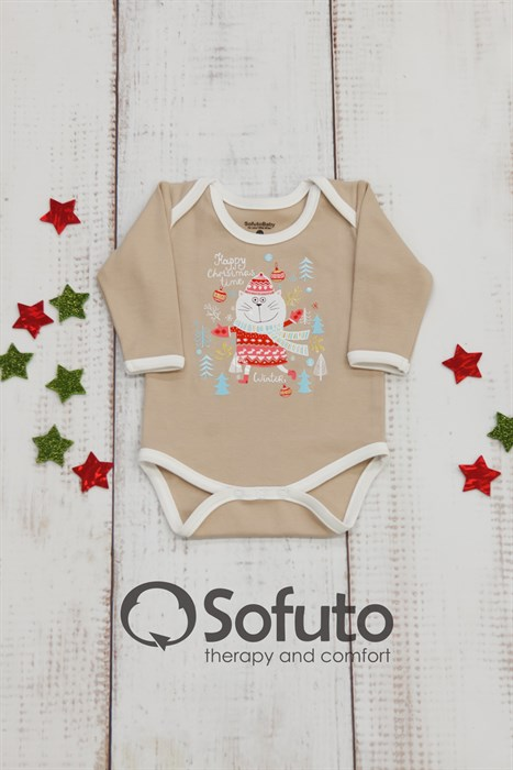 Боди детское Sofuto baby new year Latte - фото 8727