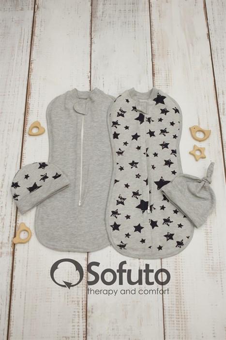 Комплект пеленок утепленный Sofuto Swaddler Black stars - фото 8771