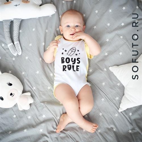 Боди короткий рукав Sofuto baby Boys rule - фото 9767