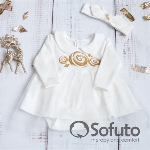 Боди-платье фатиновое с повязкой Sofuto baby ecru - фото 9926