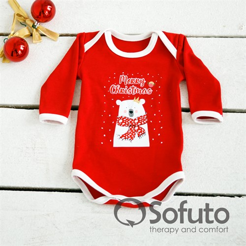 Боди детское Sofuto baby New year red with white - фото 9943
